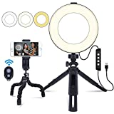 "6"" Ring Light with Stand and Cell Phone Holder for Makeup Live Streaming & YouTube Video, Remote Self-Timer Mini Desktop Led Ring Light Selfie Light Ring for Smartphone"