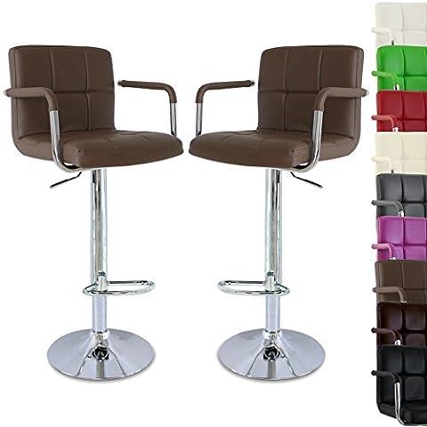 WOLTU BH16hb-a Lot de 2 Tabouret de bar réglable en hauteur, tabourets design avec accoudoirs en cuir artificiel,Brun Clair