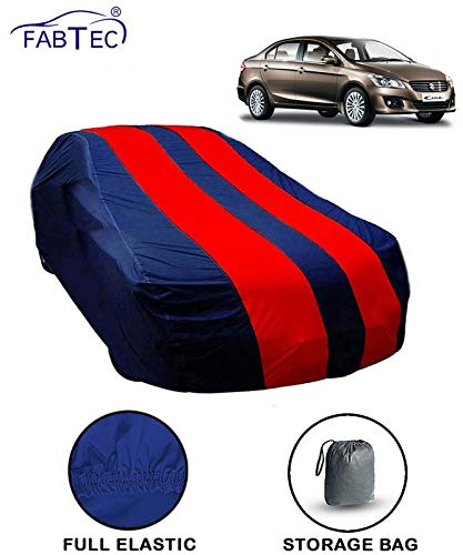 Fabtec Car Body Cover for Maruti Ciaz Red & Blue Colour with Storage Bag + Microfiber Glove Combo!