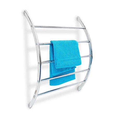 Relaxdays Wand-Handtuchhalter mit 5 Stangen HxBxT: 70 x 56,5 x 15,5 cm Badetuchhalter aus verchromtem Stahl mit 5 Handtuchstangen als Ablage für Badetücher und Badesachen in modernem Design, silber