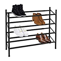 Knight 2/3/ 5 Tier Black Shoe Rack Extendable & Stackable