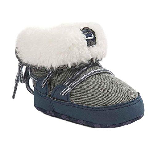 Hunpta Walker Sapatos Sapatos De Crianças Botas De Neve Do Bebê Macios Únicos Sapatos De Berço Botas Azul Da Criança