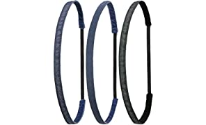 Ivybands® | Das Anti-Rutsch Haarband | 3-er Pack | Jeans Up Your Life | Blue Jeans Superthin, Blue Jeans Fein, Black Denim Jeans Superthin | One Size | IVY681 IVY682 IVY690