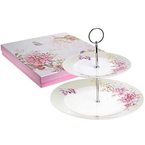 Etagere/Kuchenständer, 2Etagen, Porzellan,Design: Vogel, Rose und Schmetterling, in Geschenkbox, Porzellan, beige, 22x26