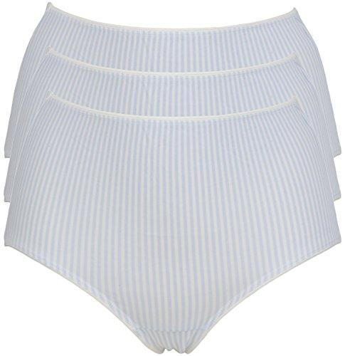 Jockey Baumwolle Slip im Midi Stil und hohem Beinausschnitt Gr. Medium, 3 Pack White Blue Stripe (Damen Jockey Baumwolle)