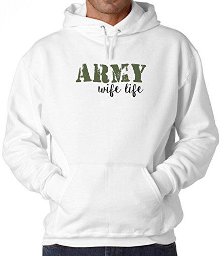 BlackMeow Army Wife Life White Unisex Hoodie - Medium Army Wife Sweatshirt