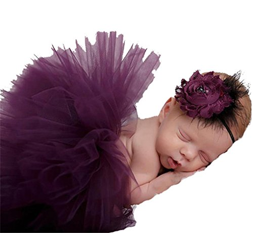 Chinget Fotos Fotografie Prop Baby Mächen Kostüm Süer Prinzessin Kleid Tüllkleid mit Kopfband Festzug Kleidung (Lila) (Festzug Foto)