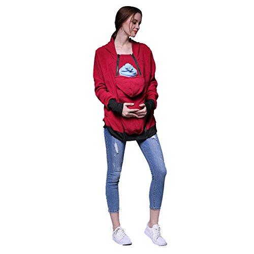 CHIC-CHIC Maternité Manteau Veste De Portage Amovible Multifonction Sweats à Capuche Pull Allaitement De Femme Pour Bébé Rouge