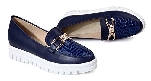 Aisun Damen Rund Ohne Verschluss Durchgängig Plateau Loafers Slipper Schuhe Blau