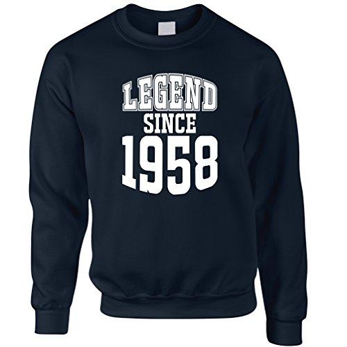 60 ° Compleanno Felpa La leggenda Dal 1958 regalo Made In 60 anni Navy