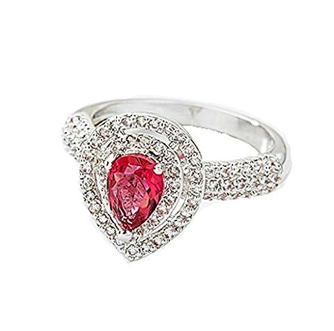 Daesar Vergoldet Ring Damen Eheringe V-Prong Rot Zirkonia Ring mit Stein Bezel Ring für Damen