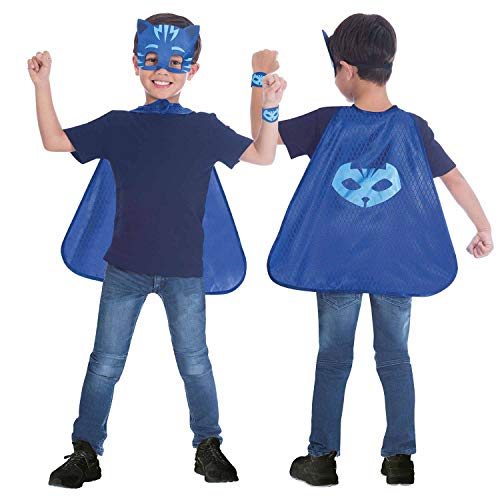 amscan 9903736 Kinder Umhang-Set PJ Masks Catboy, Blau, 110-128 - Cat Fancy Dress Kostüm Anzüge