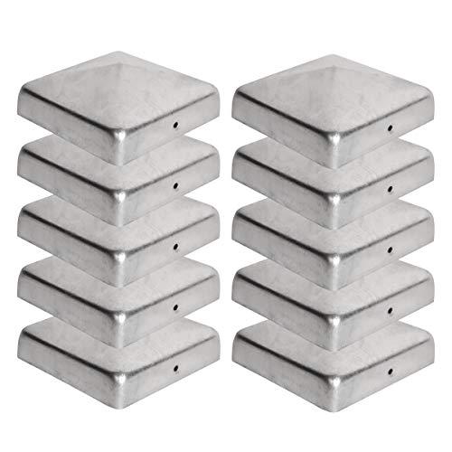10 x Pfostenkappe für Zaunpfosten (90x90 mm)   Verzinktem Stahl   Pyramiden Form   Abdeckkappe für Holzpfosten VIIRKUJA