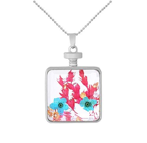 Frauen Quadratische Halskette Getrocknete Blumen Glas Anhänger Square Anweisung Halsketten, Crystal Glass Frame Halskette Schmuck