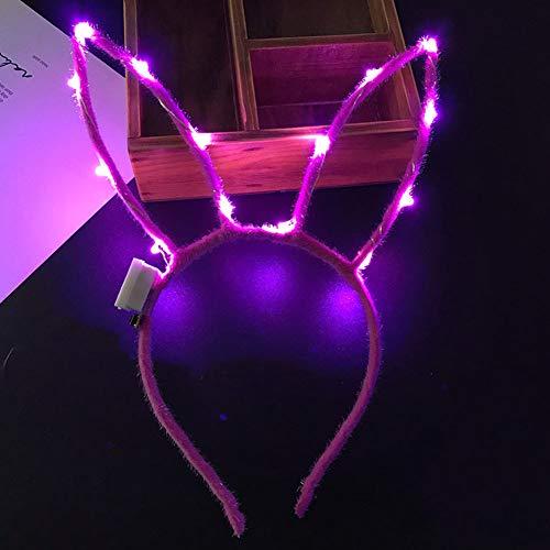 (Yzki Oster-LED-Stirnband, niedliche Hasenohren, blinkende Haarreifen für Oster-Kostüm, Party-Dekoration, rosarot, Free Size)