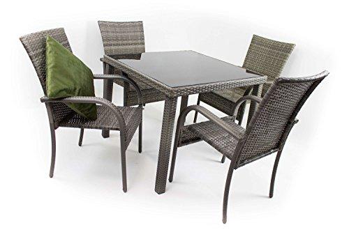 AVANTI TRENDSTORE - Arezzo small - Set da giardino in polirattan grigio, 4 sedie (dimensioni LAP 46x90x62 cm) e 1 tavolo con vetro nero (dimensioni LAP 90x74x90 cm)