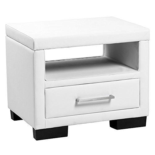 corium-Polster-Nachttisch-weiss-55-x-40-x-45-cm-Nachtkonsole-mit-Schublade-und-Ablageflche-Kunst-Leder-Kunstlederbezug-Beistelltisch-Kommode-Schlafzimmer-Tisch