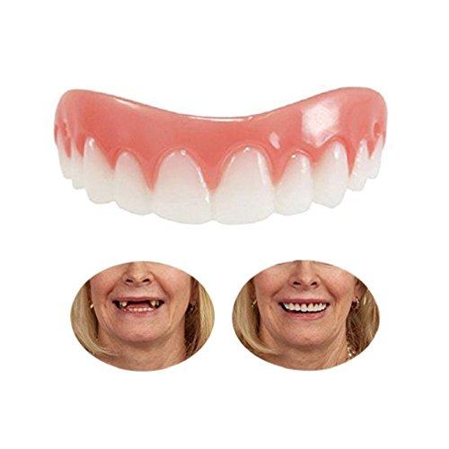 Provisorischer Zahnersatz Zahnprothese Veneer für Oberkiefer Kosmetische Zähne Sofortiges Lächeln Zähne Whitening Prothese Perfekte Smile Veneers Komfort Biegen Zähne Top Kosmetikfurnier,Natürlich Neue Bequeme Kosmetisches Zahnfurnier Für ein perfektes Lächeln,Eine Grösse passt allen (1) (Prothese Klebstoff)
