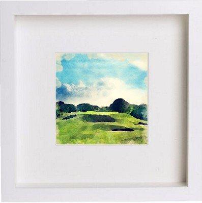 Preisvergleich Produktbild Golf | Gleneagles 5. Loch gerahmtes Kunstwerk/Bild/Foto/Kuriositäten Rahmen | Einzigartiges Geschenk 25x 25cm