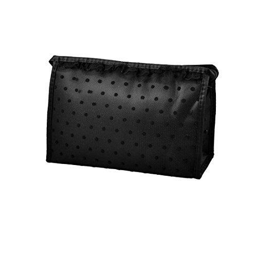 Pure Black Lace Dots Mesh-Make-up kosmetische Handtasche Tasche Blusher Mascaras Halter -
