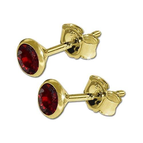 CLEVER SCHMUCK Goldene Paar Edelstein Ohrstecker mit Granat Ø 4 mm rund in Kelchfassung glänzend 333 GOLD 8 KARAT