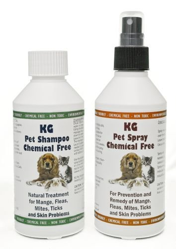 KG Wash & Go No Rinse Pet Shampoo 250ml & Spray 250ml. Rids & Protects from Mange, Fleas, Ticks, Mites & Itchy Skin Problems, Promotes Hair Re-Growth. SLS, Paraben, Pesticide & Chemical Free