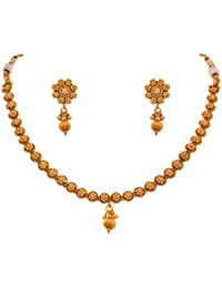 JFL - Traditional Ethnic One Gram Gold Plated Diamond Designer Necklace Set With Earring For Women.