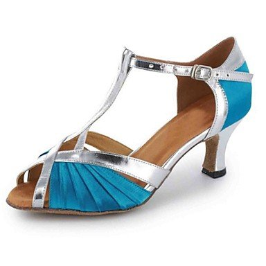 Chaussures De Danse-personnalisable-womens-latin-american Dance-custom-heel-faux Cuir-noir / Bleu / Marron / Violet / Rouge / Bleu D'or