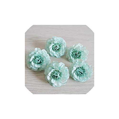 Tiamo Violet 10Pcs / Lot künstliche Blumen 5Cm Silk Azaleen-Blumen-HandgelenkCorsage Kopfschmuck für Hochzeit Dekoration, Mint Green -