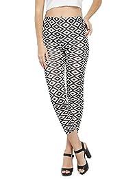 N-Gal Women Pattern Pencil Leggings-NJ79484-White