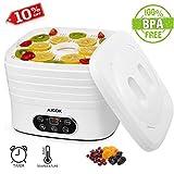 AICOK Deshidratador de Alimentos Ajustable Temperatura y Temporizador Deshidratador de Frutas y Verduras con Pantalla LCD, sin BPA 5 Bandejas Ajustables Deshidratador Temporizador de hasta 72 h, 250W