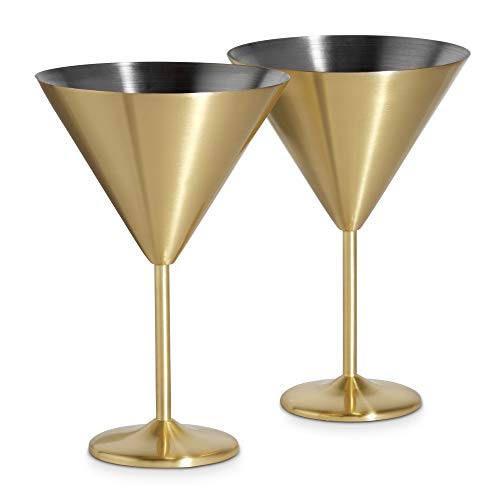 VonShef Martini Cocktailglas 2-er Set Edelstahl - Gold Gold Cocktail-glas