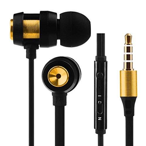 s Stereo In-Ear Ohrhörer Sport Kopfhörer mit Kopfhörer Aufbewahrungstasche,gold ()
