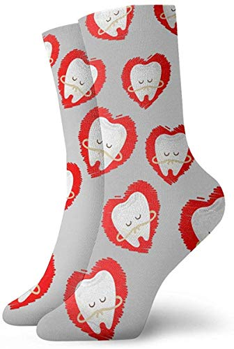 tyui7 Novedad Cool Crazy Funny Dress Socks - Higienista dental Dentista Cartoon Teeth Heart Socks - Regalos para hombres y mujeres