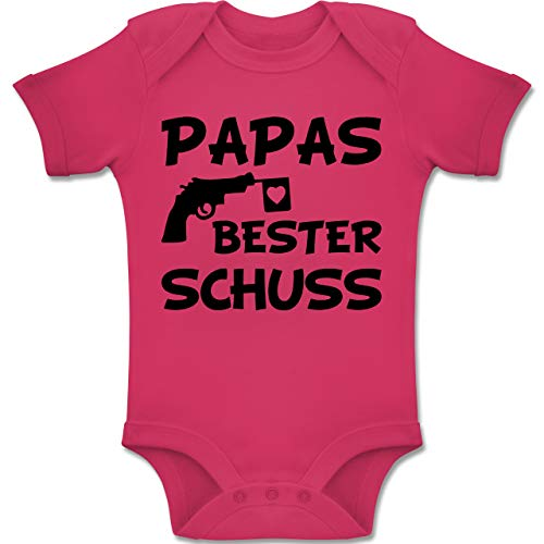 Vatertag Baby - Papas Bester Schuss - 1-3 Monate - Fuchsia - BZ10 - Baby Body Kurzarm Jungen Mädchen (Für Kleidung Mädchen Spaß,)