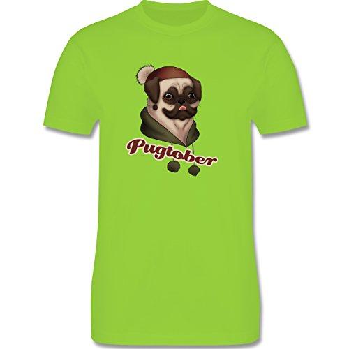 Hunde - Pugtober Mops - Herren Premium T-Shirt Hellgrün