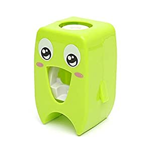 Cartoon Automatic Toothpaste Dispenser, Cute Wall Mounted Toothpaste Squeezer for Kids - Green