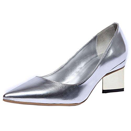 TAOFFEN Pumps Damen Blockabsatz Spitze Toe Slip On Silber Schuhe 2016 Elegant Silber