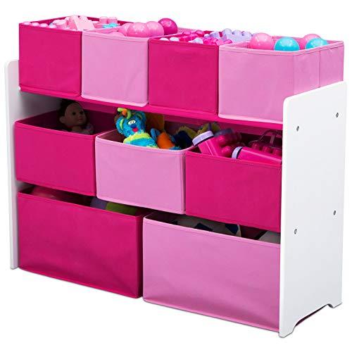 TW24 Aufbewahrungsregal mit 9 Boxen pink Kinderregal Holz Aufbewahrungsboxen Kindermöbel Regal Standregal