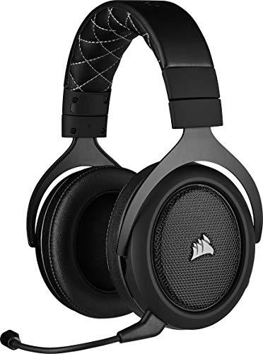 Corsair HS70 Pro Wireless Auriculares para Juegos (7.1 Sonido Envolvente, Inalámbrico de 2,4 GHz de Baja latencia, 12 m de Alcance inalámbrico, Unidireccional micrófono, Compatible con PC, PS4) Negro