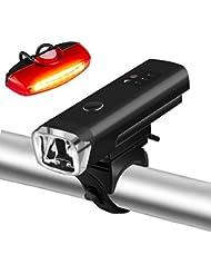 LED Fahrradbeleuchtung Set , Gaxiog Wiederaufladbare Fahrradlicht , 500 Lumen, 5 Licht-Modi für, LED Wasserdichte Frontlicht und Rücklicht Für ,(2 USB-Kabel zum Aufladen)