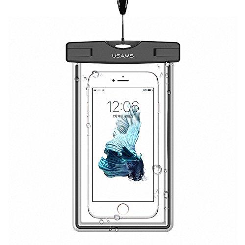 Wasserdichte Tasche für Handy, USAMS IPX8 Wasserdichte Handy Hülle Ideal für den Strand, Wassersport, Sensitive Touch Screen Universalhülle Beachbag Beutel Bag Handyhülle für iPhone und Samsung Galaxy oder andere Smartphone unter 5,5 Zoll, Schwarz