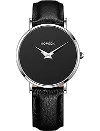 Kopeck scale-free ultrafino impermeable movimiento de cuarzo esfera negra Relojes para las mujeres