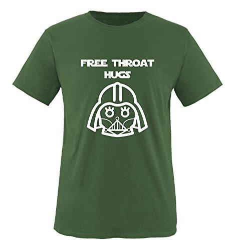 Comedy Shirts - FREE THROAT HUGS - Herren T-Shirt - Oliv / Weiss Gr. XXL (Hugs Herren Free Baseball)