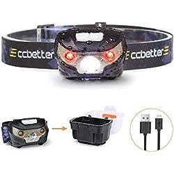 Frontal LED, ccbetter Linterna Frontales USB Recargable Impermeable para Tienda de Campaña Lectura Pesca Camping Runners deporte senderismo DIY y caminar (Cable USB + Caja de luz)