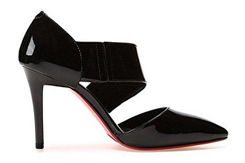 PBXP Pumps Spitz-Zehen-Stilett-Ferse-Leder-Frauen-beiläufige Arbeits-Partei-elegante Schuhe Rot-Schwarzes Europa-Größe 33-39 Black