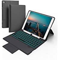 "iPad Keyboard Case for New 9.7"" iPad 2018 (Gen 6)/2017 (Gen 5), iPad Air 2 & Air 1, 7 Color Backlit iPad Keyboard and Pencil Holder, iPad Keyboard Cover Built-in Magnetic Stand with Auto Sleep/Wake"