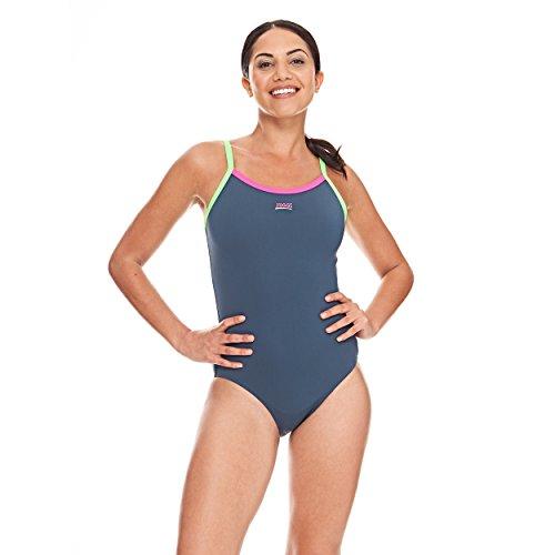 Zoggs, costume da nuoto per donna, modello Cannon Strike Back Grey/Pink/Green