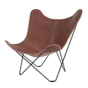 cuero leather mariposa butterfly chair sessel hellbraun italienisches leder gestell schwarz. Black Bedroom Furniture Sets. Home Design Ideas