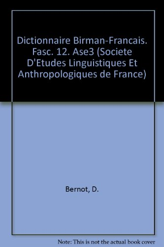 Dictionnaire Birman-francais. Fasc. 12. Ase3